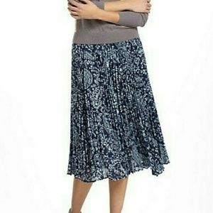 Girls From Savoy Pleated Paisley A-Line Midi Skirt